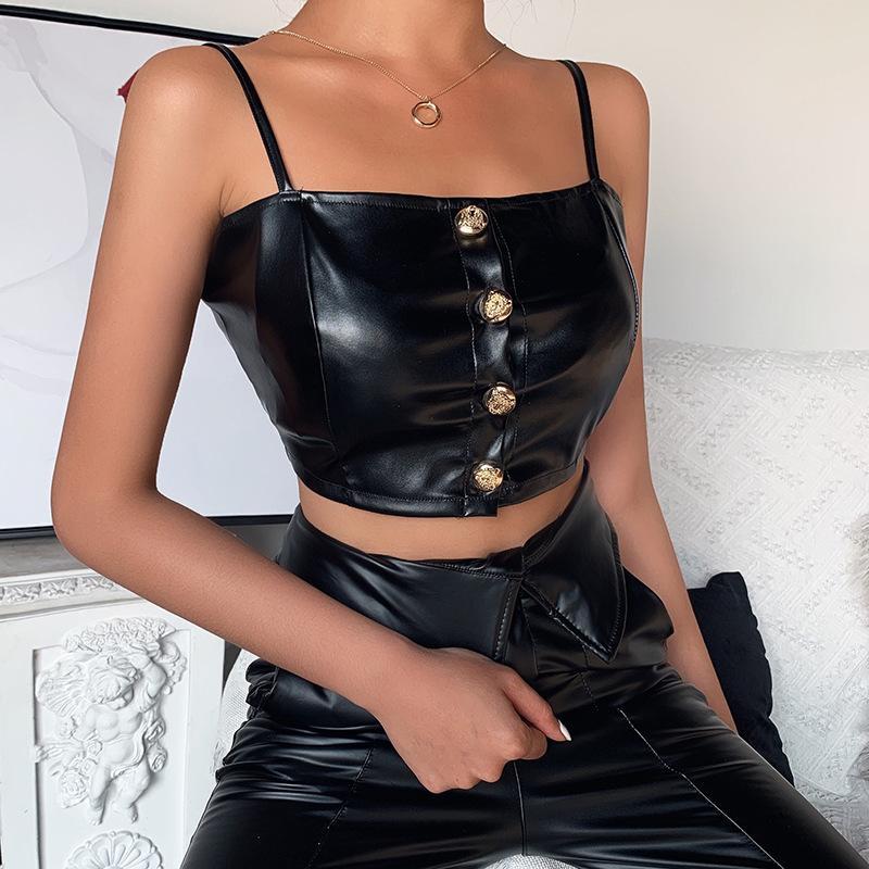Pulsante di cuoio nero senza spalline Bassiera sexy delle donne di Slash collo maniche Backless canotta Top Female Streetwear 2020