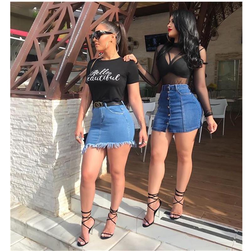 chaud d'été jupe nouveaux jeans femmes taille haute couture jupe pantalon décontracté jeans sexy Slim denim des femmes des culottes