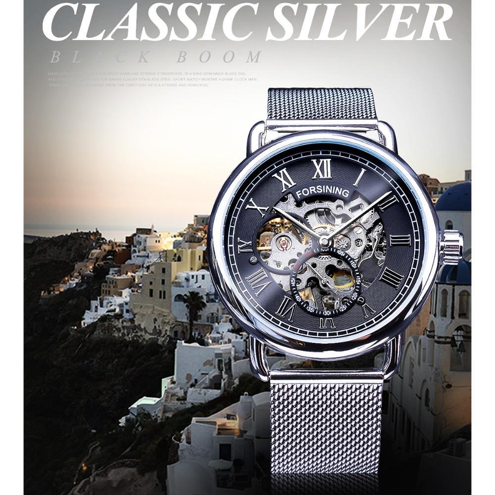 Forsining Clássico Esqueleto de Ouro Relógio de Malha Banda Projeto À Prova D 'Água Mens Relógios Mecânicos Top Marca de Luxo Montre Homme SLZe162
