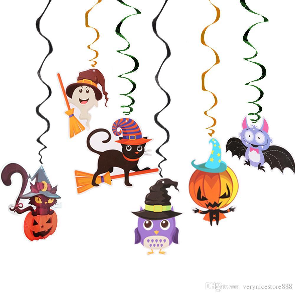 22x22cm Nova dos desenhos animados 6-Piece bonito espiral colorido Halloween Pendant Dia das Bruxas Produto Pingente Decoração Hot Sale frete grátis