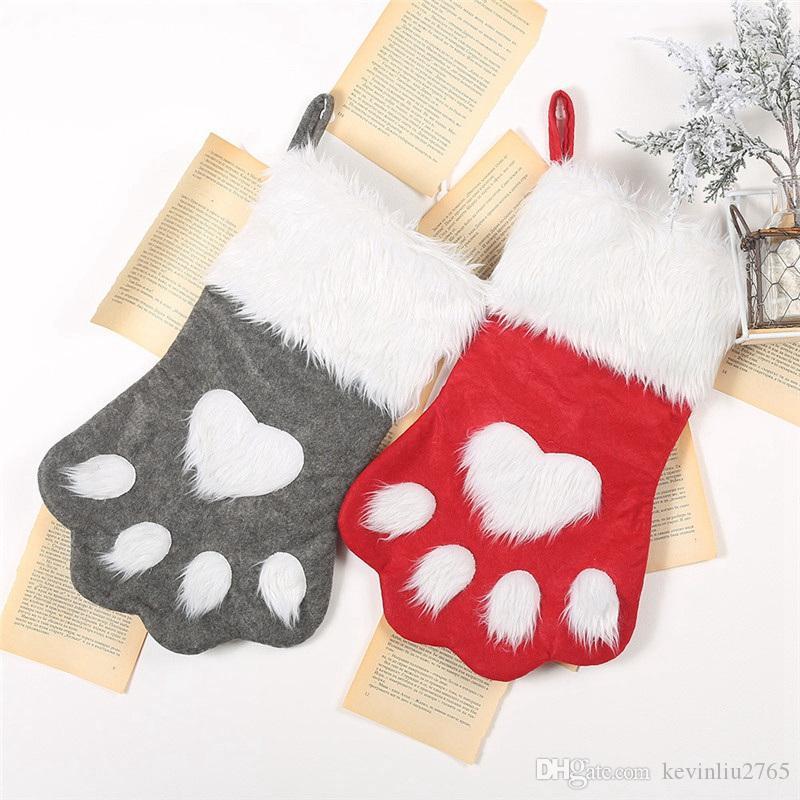 Noel Çorap Köpeğin Paw Büyük Santa Çanta Çorap Şeker Noel Çorap Noel ağacı veya Şömine Süsleme Noel Çorap Bag 08 Asma