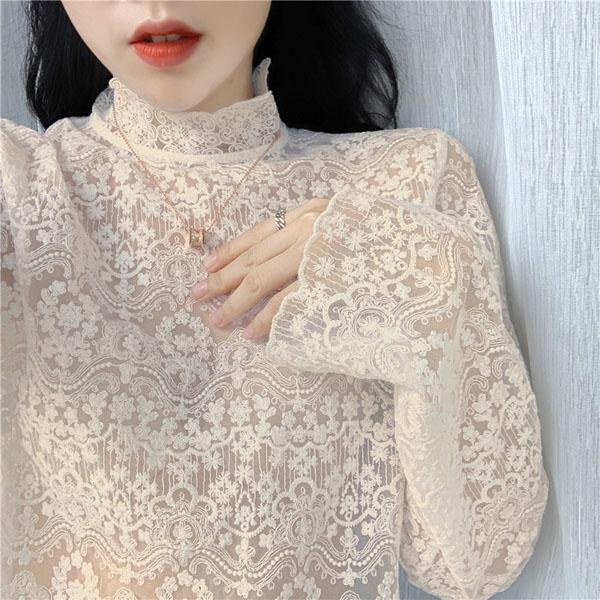 Shirt Base C5185 Nuova Primavera Autunno Donna Lace manica lunga stand colletto in pizzo maglietta
