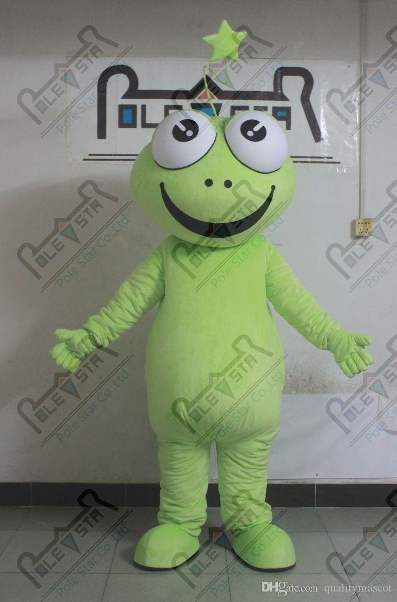 carino verde costumi rana mascotte dei cartoni animati poco attore rana piedi COSTUMI POLE STAR MASCOTTE