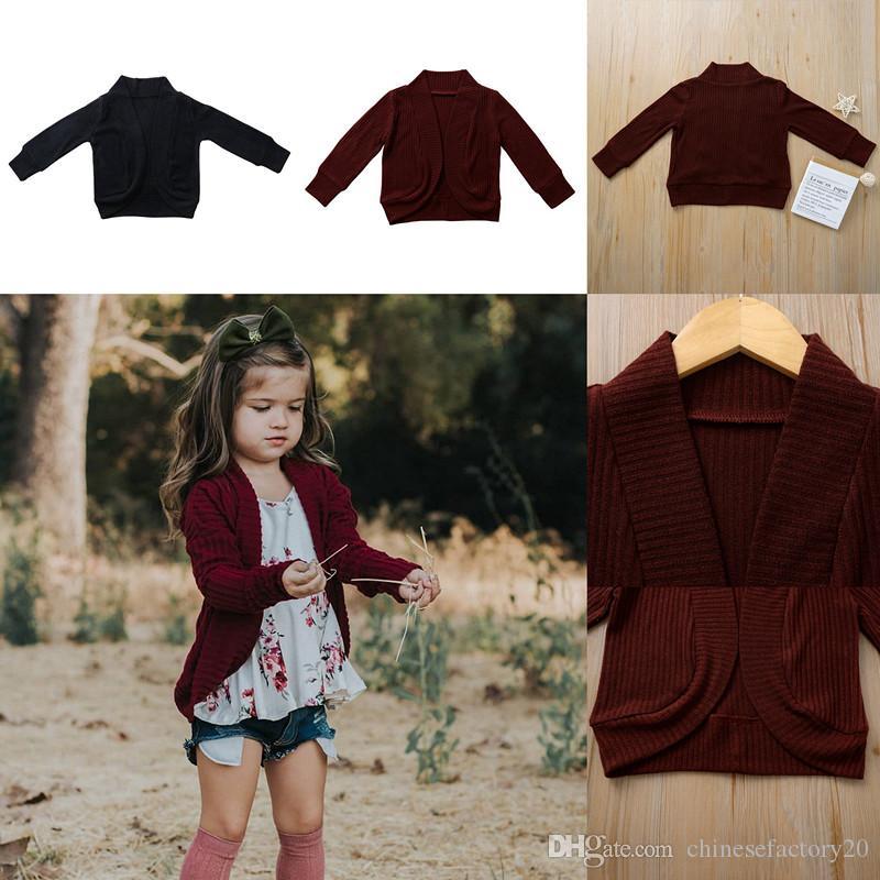 Baby Boy Girl Thirtwear Swater ins осень с длинным рукавом малыш хлопок кардиган вино красное черное пальто