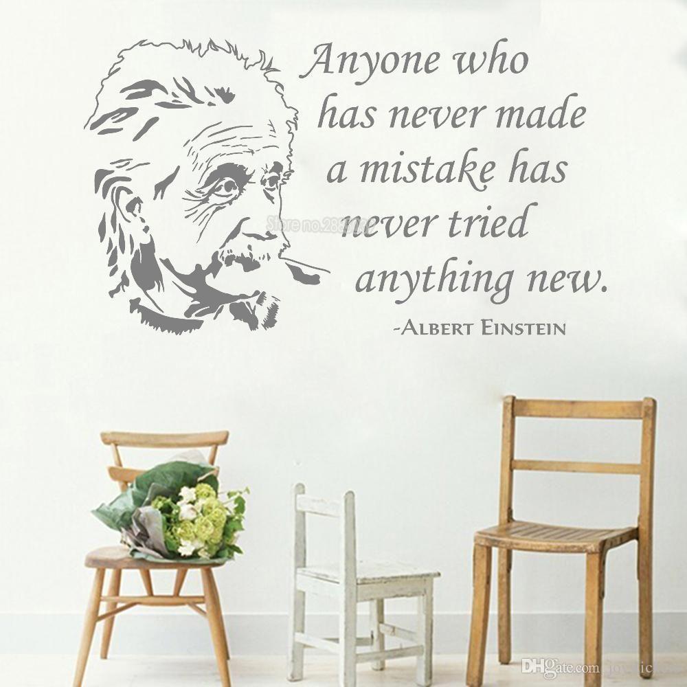 Искусство Альберт Эйнштейн стикер стены цитаты виниловые говорящие наклейки офис гостиная домашний декор настенная роспись высокое качество обоев новый