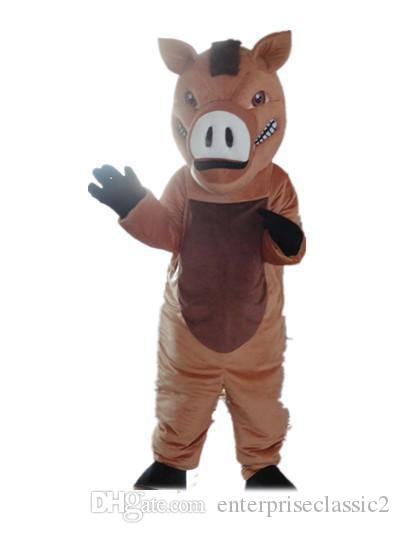 2019 Factory sale hot Good vision and good Ventilation a brown boar mascot costume with big nose for adult to wear