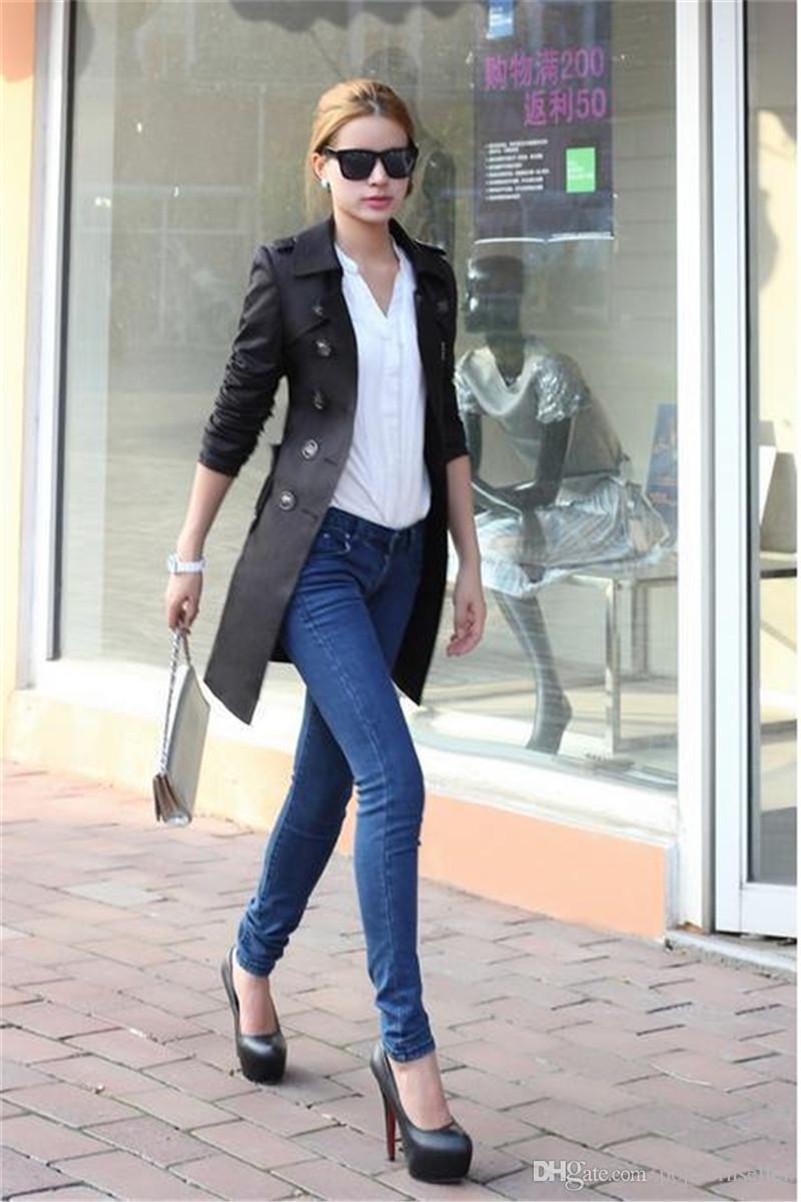 여성 디자이너 겨울 코트 패션 슬림 더블 브레스트 조절 허리 롱 트렌치 코트 여성 겉옷 의류