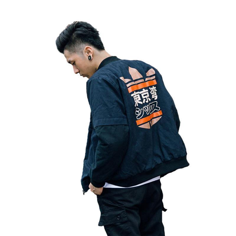 Primavera MA1 Homens Bomber Jacket Brasão Tokyo Bay Impressão Outwear Japão vôo piloto militar Jackets faculdade masculina Casacos respirável