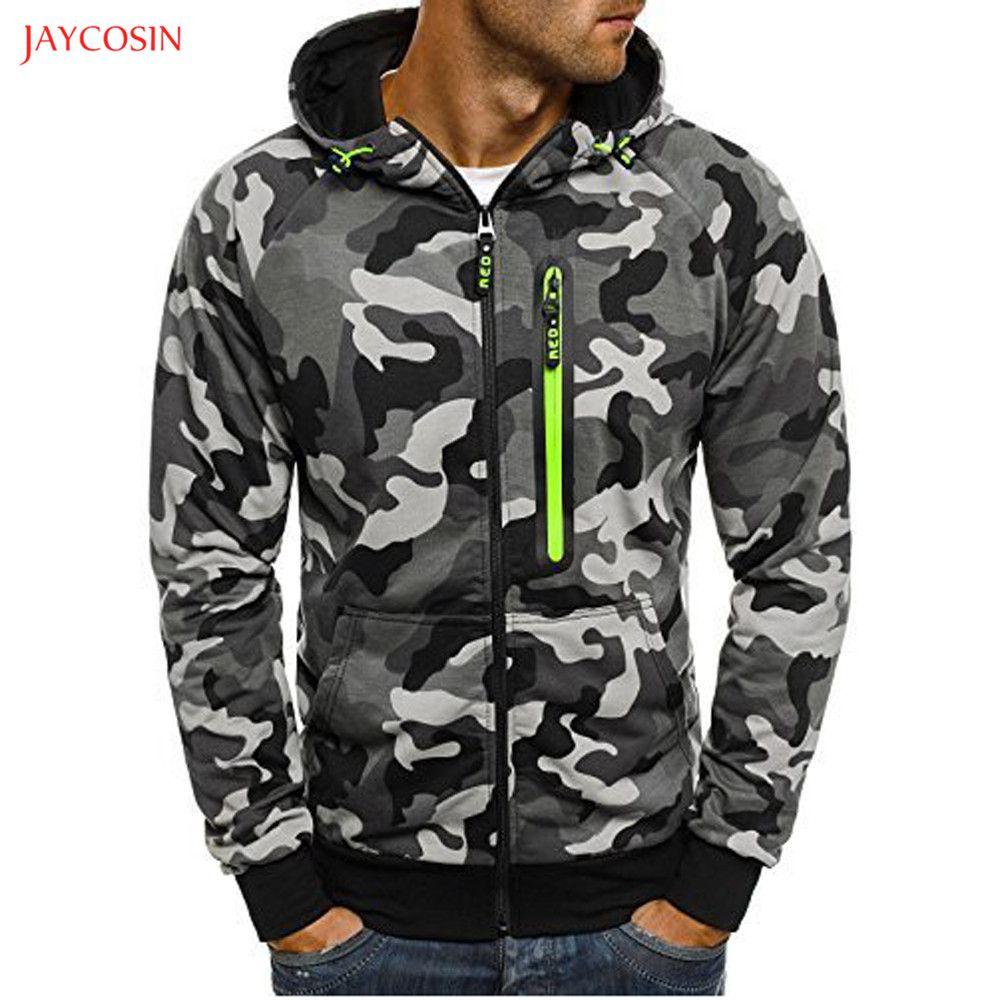 Jaycosin Abbigliamento uomo cerniera Camouflage Felpa con cappuccio Primavera Autunno casuale a maniche lunghe 3XL O-Collo Sport Travel Top