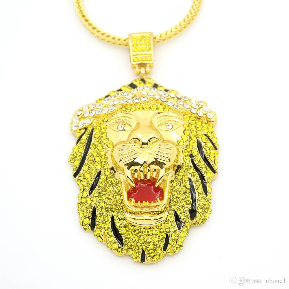 2019 Men's Fashion New High Quality Trends Cool High Quality Colored Lion Head Hip Hop Big Pendant Necklace