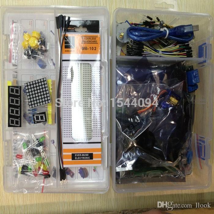 Kit de Freeshipping para uno com mega linha 2560 / lcd1602 / hc-sr04 / dupont em caixa de plástico