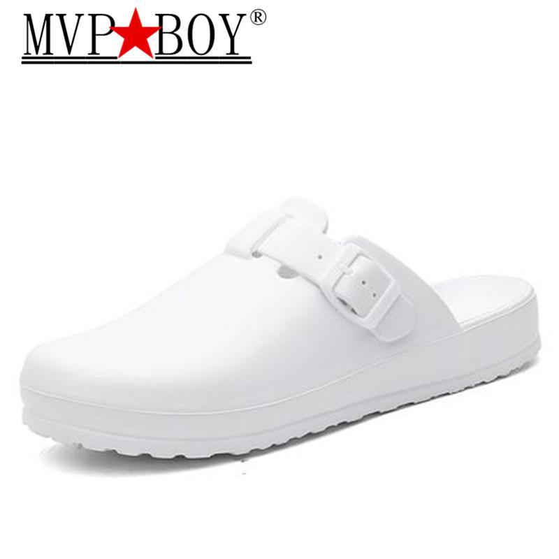 Homens clássico Anti Bactérias Sapatos Segurança Closed Toe Mule Chinelos de Quarto limpo Trabalho Slides For Man 45
