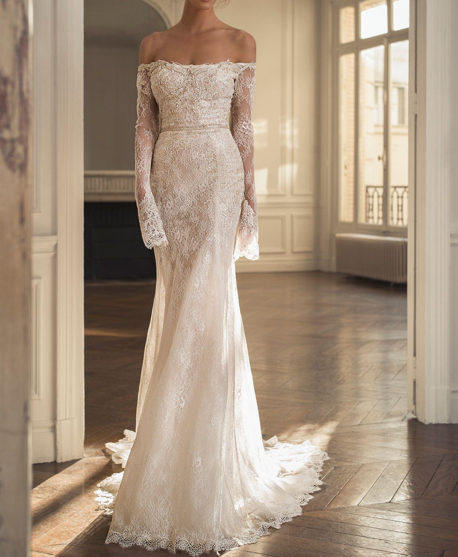 С плечами свадебные платья Роб Му Мари Русалка с длинным рукавом кружева свадебные платья свадебные платья