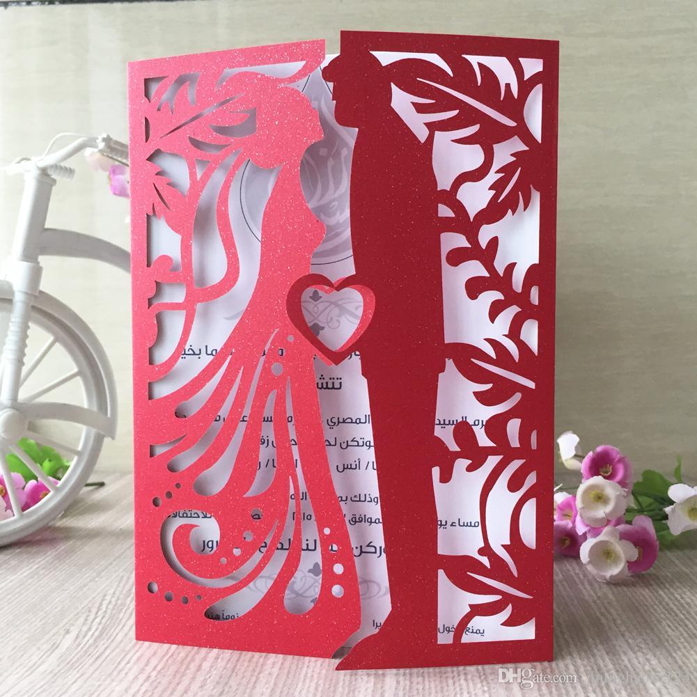 Изысканный темно-синий любители брак поцелуй лазерная резка жемчужная бумага сложенные карты свадебные приглашения на день рождения многоцветный бесплатная доставка