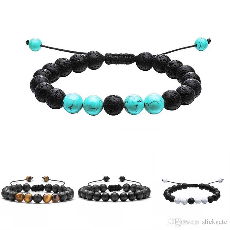 DHL libero 4 stili braccialetto vulcanico di lava 201909 regolabile intrecciato olio essenziale bracciali diffusore donna uomo gioielli regalo di natale M315F