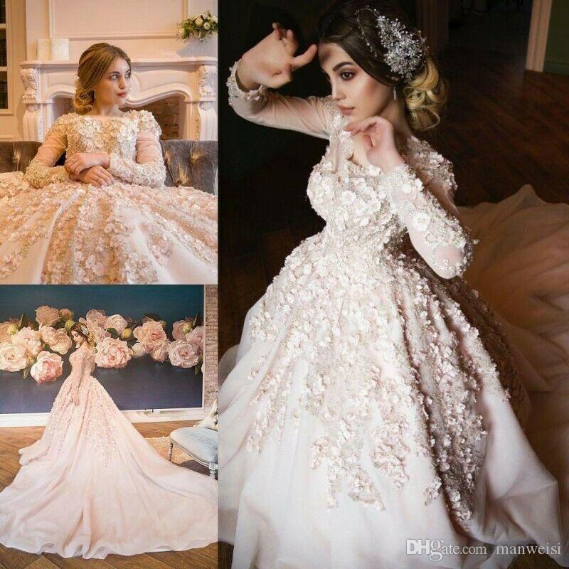Abiti Abito musulmani una linea di abiti da sposa Modest a maniche lunghe in pizzo floreale 3D appliquéd Corte dei treni Vestido De Noiva da sposa