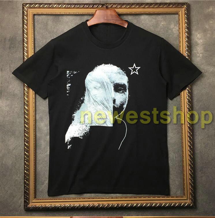 2020 camicie Mens T caldi del manicotto degli uomini casuali maglietta Mens immagine Graffiti pentagramma stampa Designer camicia di cotone Tee Tops