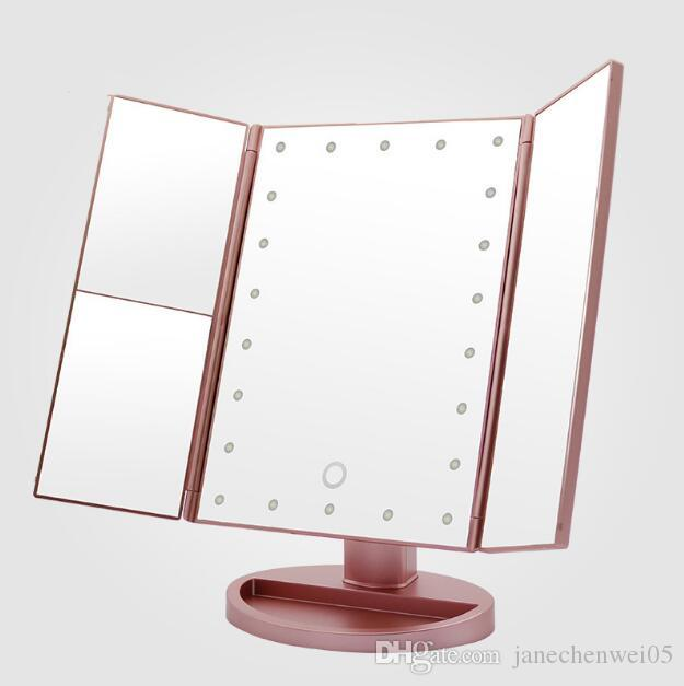 Dobrável espelhos de aumento 3x / 2X / 1X Tabela desktop espelho de maquilhagem LED Espelho 3 Folding ajustável Ferramenta Cosmetic