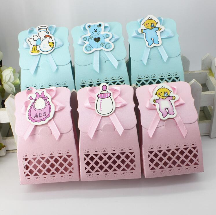12 piezas Baby Shower Blue Pink Candy Box Cute Gift Bag Papel para Baby Shower Decorations Boys Girls Party Set Event Party Supplies