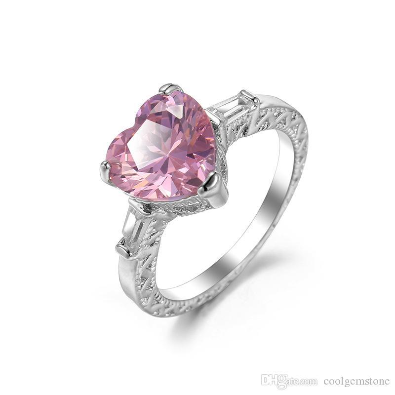 Luckyshien 6 sztuk / partia Classic Serce w kształcie serca Pink Cyrkon Gemstone Pierścień 925 Sterling Posrebrzany Dla Kobiet Obrączka Biżuteria