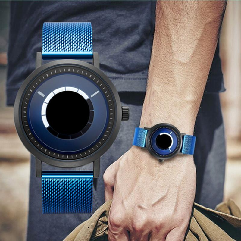 SINOBI New Unique Rotate Creative Watch Men Man Steel Mesh Band Quartz Wristwatches Sports Casual Blue Men Watches Reloj Hombre SH190929