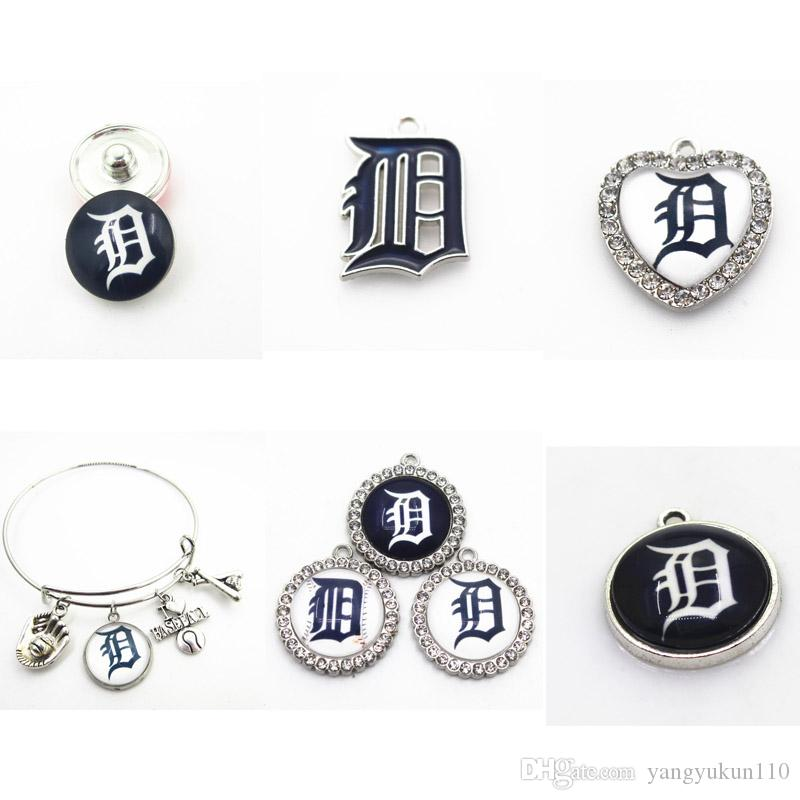 US Baseball Team Detroit Charms Tigers Dangle Charms Sports DIY Bracelet Necklace Pendant Earring Jewelry Hanging Charms