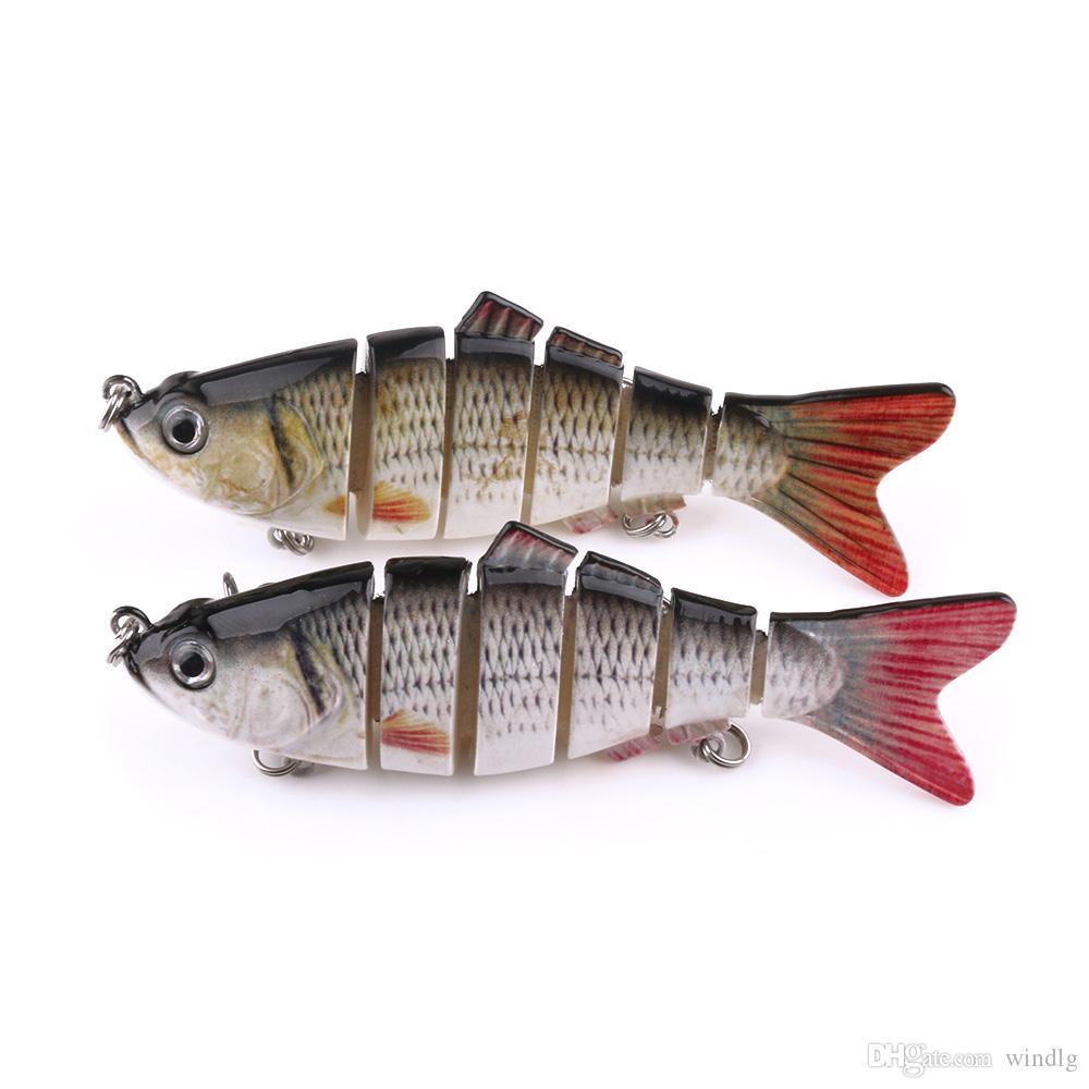 Hengjia 2 colori segmentato snodati 6 Sezioni in plastica dura esche 10 centimetri 18g Crankbait artificiale richiamo di pesca con 2 Treble Hook 6 # gancio