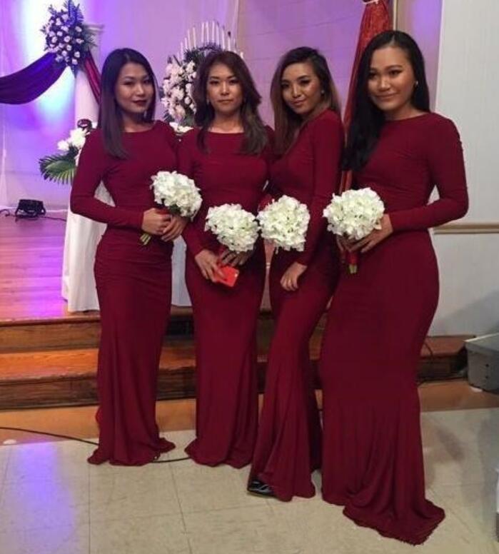 Burgundy Long Sleeve Mermaid Bridesmaid Dresses New Scoop Neck Floor Length Formal Wedding Guest Maid Of Honor Gown