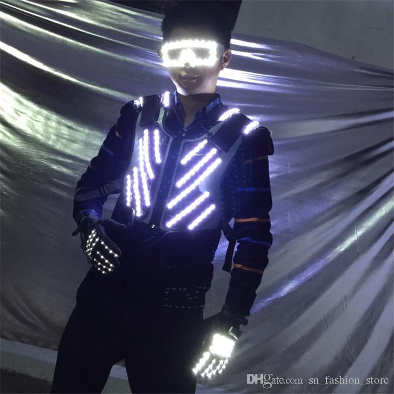 P76 RGB colorful led light costumes dj luminous men vest stage wears dance robot suit perform clothing glowing led props event party clothes