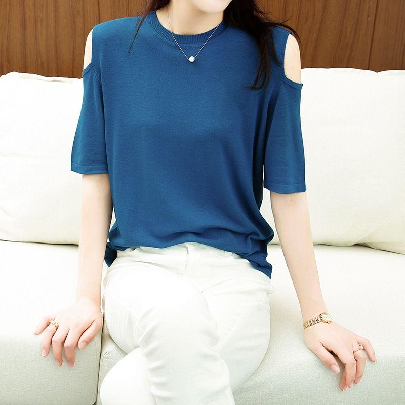 Produits 2020 sans bretelles col rond en tricot à manches courtes T-shirt T-shirt ins femmes à la mode vêtements pour femmes