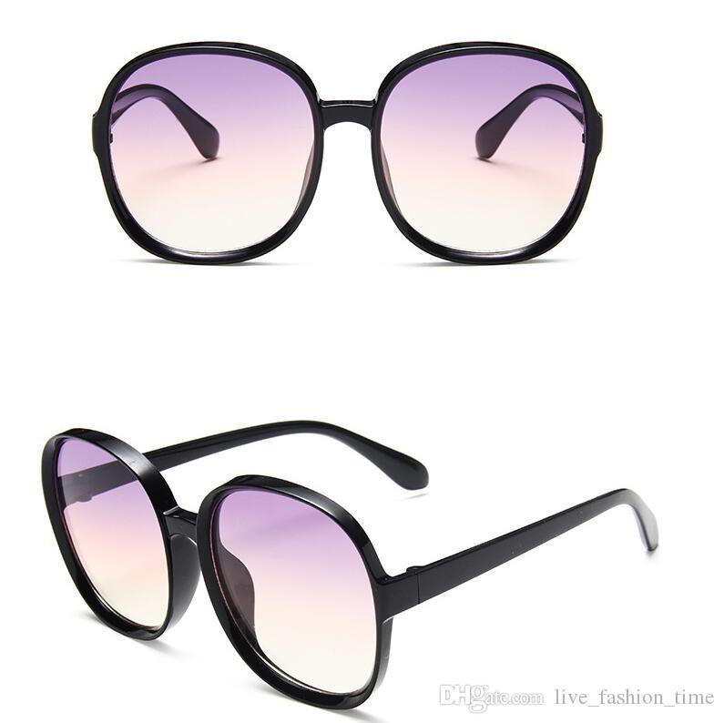 Круглые солнцезащитные очки женщин 2020 Черный Крупногабаритные солнечные очки ретро Урожай большой кадр солнцезащитные очки Gradient Оттенки для женщин лето Стиль очки