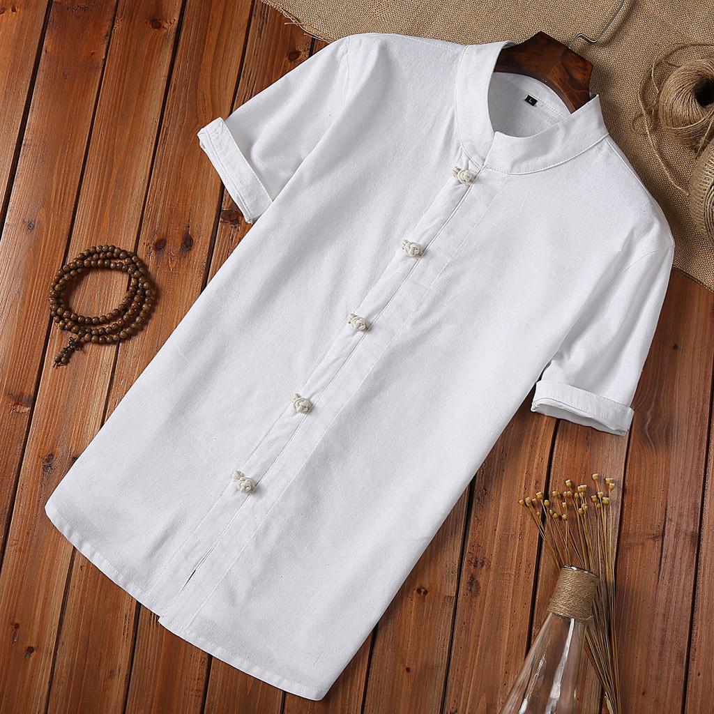 Yaz Gömlek erkekler Düğme Keten Ve Pamuk Kısa Kollu Bluz Çince Style Beyaz Erkekler Vintage Gömlek Camisa Masculina