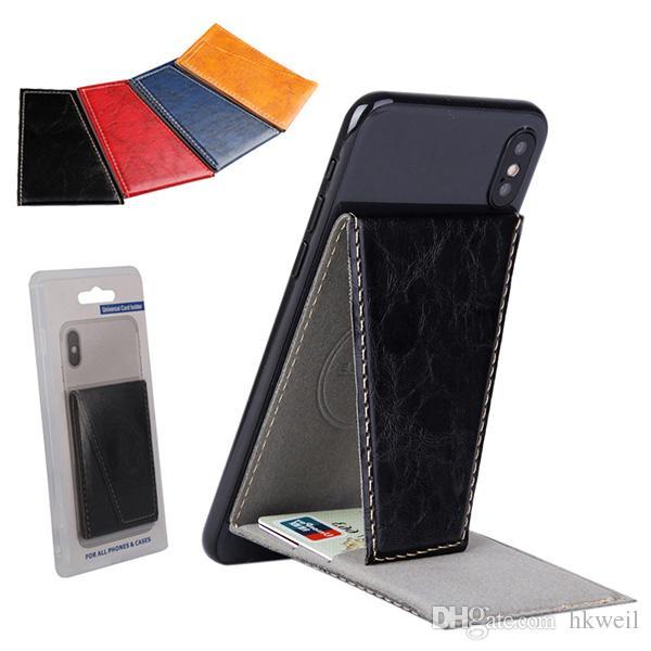 بطاقة الهاتف الخلفي ملصق حامل بطاقة الهاتف حامل بو الجلود حامل البطاقات المصرفية قبضة 3M المحفظة بطاقة غطاء الهدايا الإبداعية لفون سامسونج