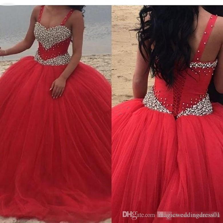 2019 Red Cheap Long Quinceanera Dresses Bodice Corset Beading Spaghetti Straps Tulle Custom Made Sweet 16 Prom Gowns Vestidos De 15 Anos