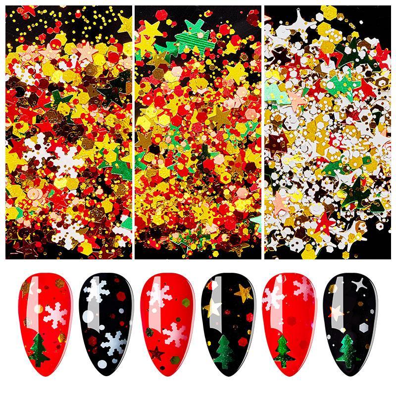 VIER LILY Mix Weihnachtsschneeflocke Weihnachtsbaum Starlights Holo Nagel Glitter Pailletten Nagel-Kunst-Scheibe Aufkleber Maniküre Dekorationen