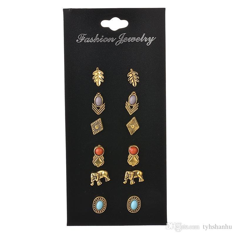 Nuevo Retro aleación geométricos Hojas elefante 6 pares / conjunto de pendientes de las mujeres Tarjeta combinada Traje Earr E1400