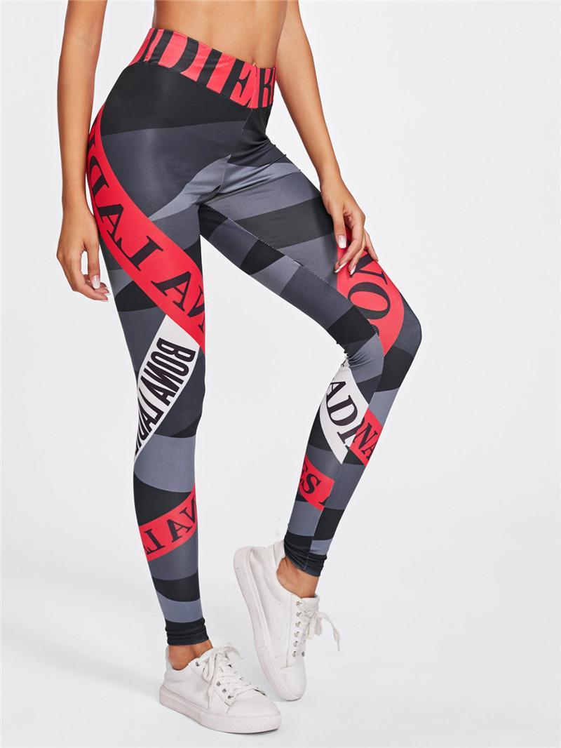 cintura alta novo europeus e calças de yoga alfabeto de impressão digital de americanos quadris leggings stretch