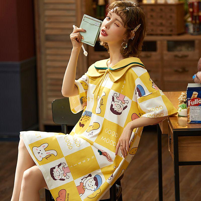Yaz Pamuk Kadınlar Gecelik Karikatür Yaka Gecelik Plus Size Kadınlar Yumuşak Kısa kollu pijamalar Ev Giyim Turn-down