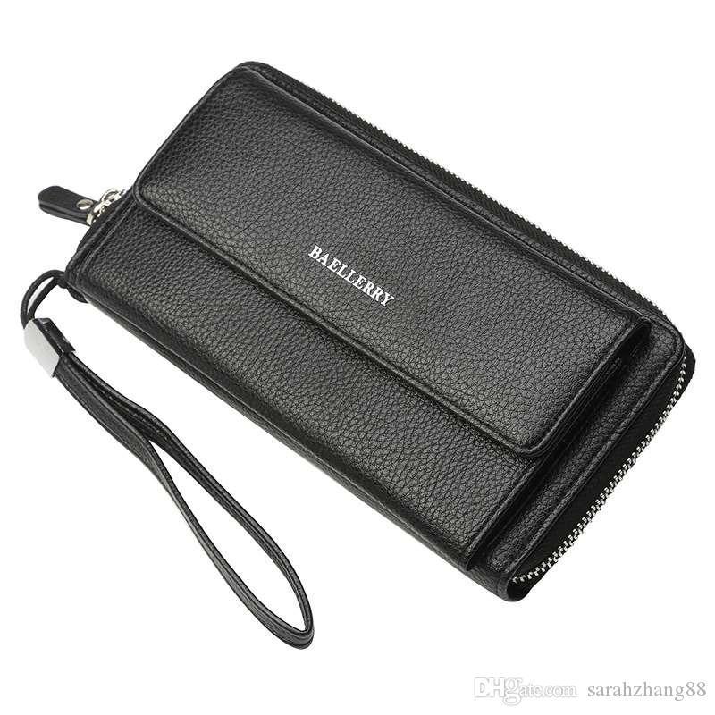 가죽 비서 지갑 비즈니스 주최자 Bifold 수표 커버 지퍼 롱 지갑 남성용 지갑 머니 클립 클러치 백 지갑