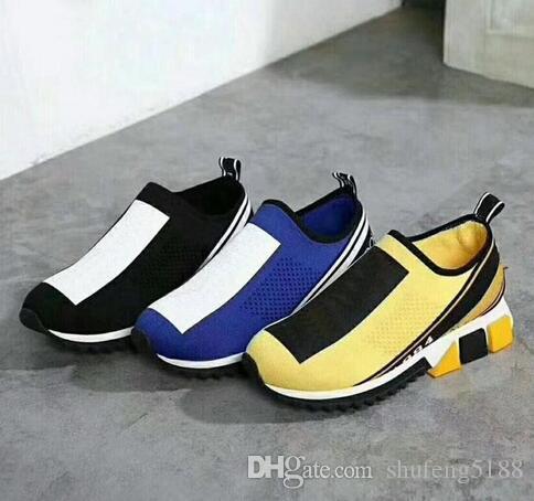 2019 Sneakers Casual Designer Mesh Shoe Jaune Femmes Bleu Hommes Chaussettes Chaussures Bottes 35-46 Avec boîte