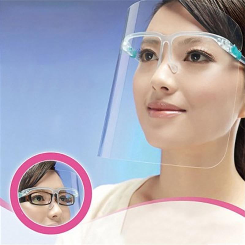Máscara de EE.UU. Cara de la protección con cubierta de protección de la cara Gafas anti Escupir Aceite de protección entera la prueba del polvo facial visera transparente PET