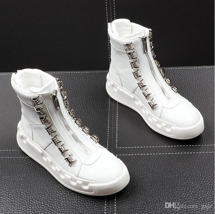 Luxury Uomo Mocassini bianchi In pelle Scarpe casual da uomo Marca confortevole primavera moda traspirante Scarpe uomo H372