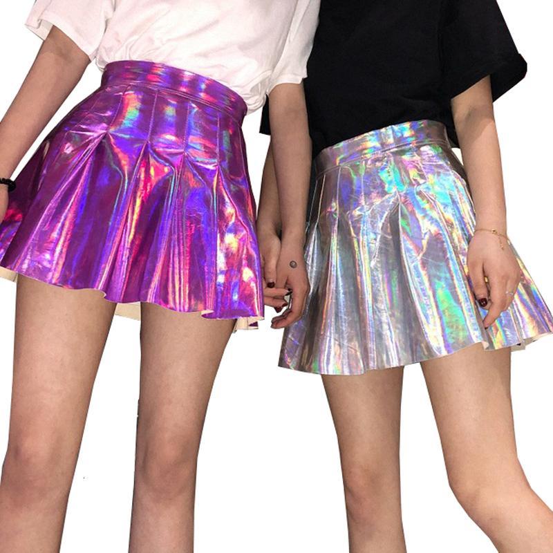 Pelle Donna Gonne gonna a pieghe Gonna Donne Harajuku Laser Preppy Gonne Mini Uniformi scuola sveglio Jupe Pu Leather Skirt Faldas 4Dq6101