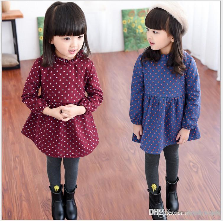 2017 Sonbahar Kış Kız Prenses Elbise Bebek Kız Kalınlaşmak Sıcak Elbiseler Çocuklar Uzun Kollu Elbise Kore Tarzı Çocuk Elbise 5 adet / grup
