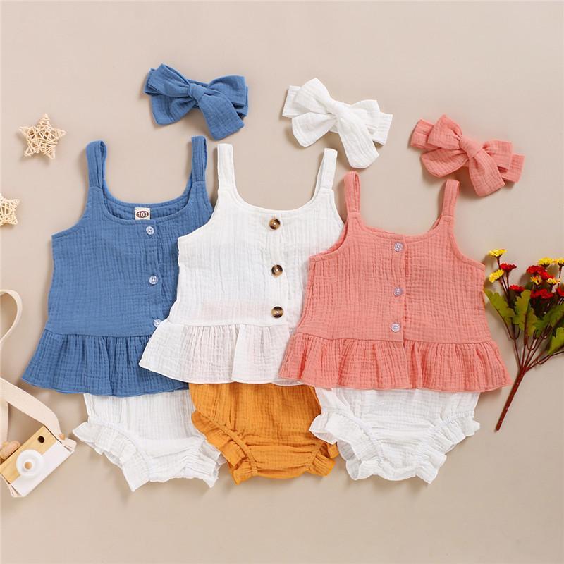 Mikrdoo Infante recém-nascido menina roupas de verão bonito do bebê Set Strap bonito Top + Shorts com Headband cor sólida 3PCS Outfit