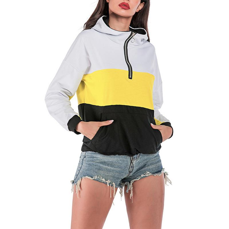 Z 2019 Hoodies Mulheres Outono Inverno solto contraste cor da costura Zipper Sports Windproof Suéter Sweatershirt capa!