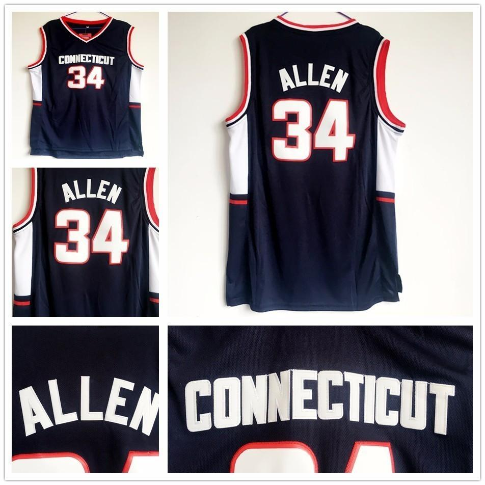 Cheap NCAA Connecticut Huskies Ray 34 Allen Jersey Blue Color Retro Wholesale Stitched Ray Allen College Basketball Jerseys