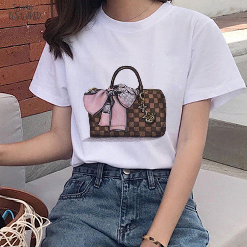 새로운 패션 가방 인쇄 된 T 셔츠는 캐주얼 O 칼라 고품질 V 넥 하라주쿠 짧은 소매 셔츠 스트리트 의류 힙합을 여자