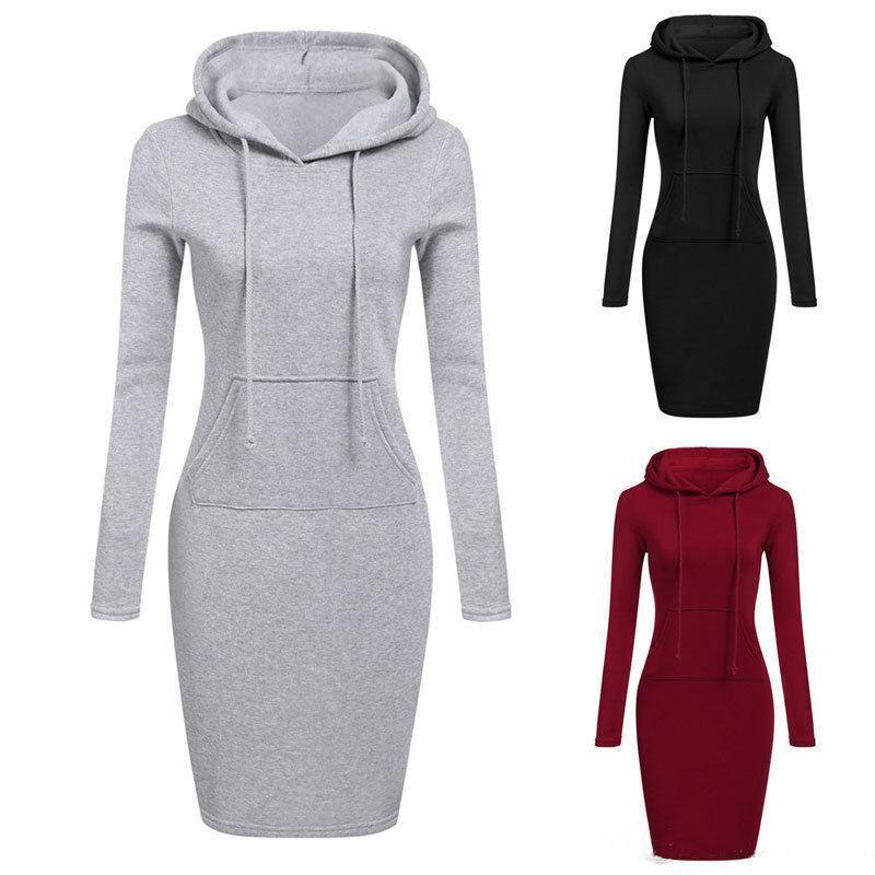 3 Colour S-2XL Women Knee Length Casual Hooded Pencil Hoodie Long Sleeve Sweater Pocket Bodycon Tunic Dress Top