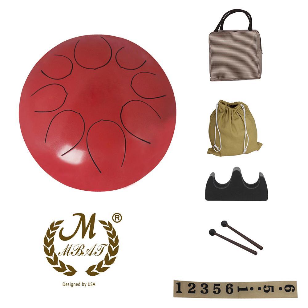 Hot nuovo 10 pollici inossidabile della linguetta del tamburo a percussione a mano Pan tamburo con tamburo Mallets portare borse Nota Sticks
